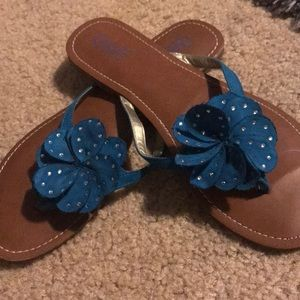 Turquoise Blue flat sandal with bling